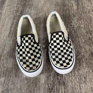 Men's White and Black Checkered Vans